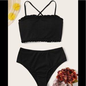 Black lace up back - high wasted bikini NWT